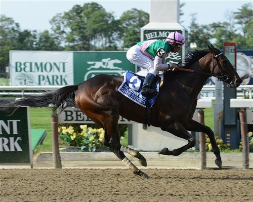 Close Hatches, ridden by Joel Rosario, captures $300,000 Mother Goose Stakes at Belmont Park Saturday, June 22, 2013, in Elmont, N.Y. (AP Photo/NYRA)