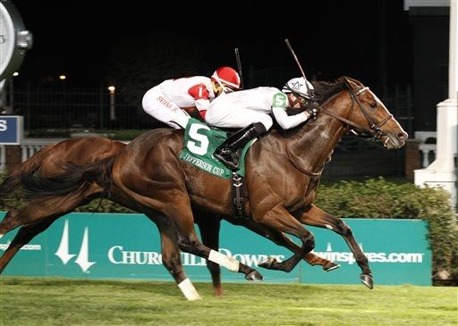 General Election, foreground, with jockey Joe Rocco Jr., wins the Jefferson Cup horse race over Redwood Kitten on Saturday, Sept. 28, 2013, at Churchill Downs in Louisville, Ky. (AP Photo/Churchill Downs/Reed Palmer Photgraphy)